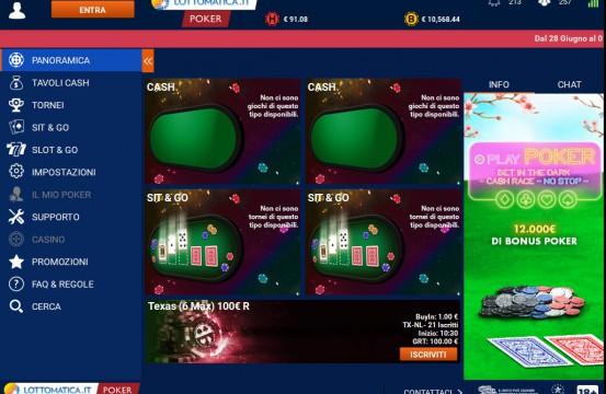 Lottomatica Poker Room 2021 lobby view