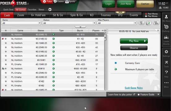 pokerstars.it lobby