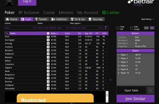 Betfair Poker Room 2021 cashgames lobby view