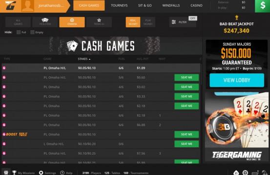 Poker room Tiger Gaming lobby