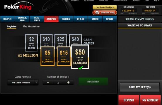 Poker room PokerKing lobby view 2021