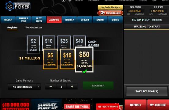 Black Chip Poker 2021 spins lobby view