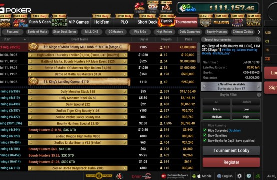 BetKings Poker Room MTT lobby view 2021