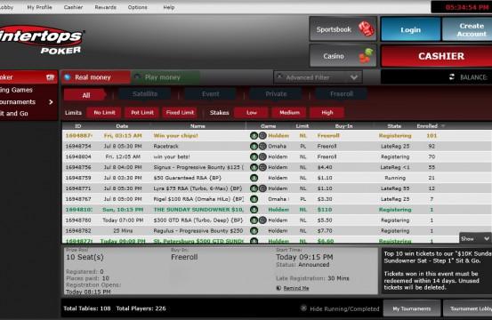 Intertops Poker MTT lobby view