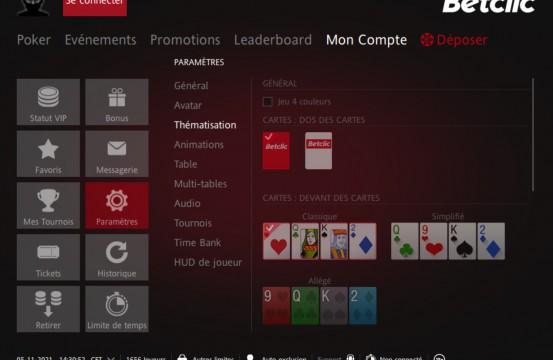 iPoker.fr Network Poker Room BetClic.fr settings cards view