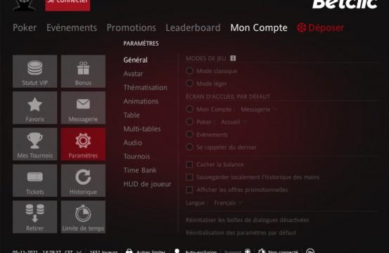 iPoker.fr Network Poker Room BetClic.fr settings view