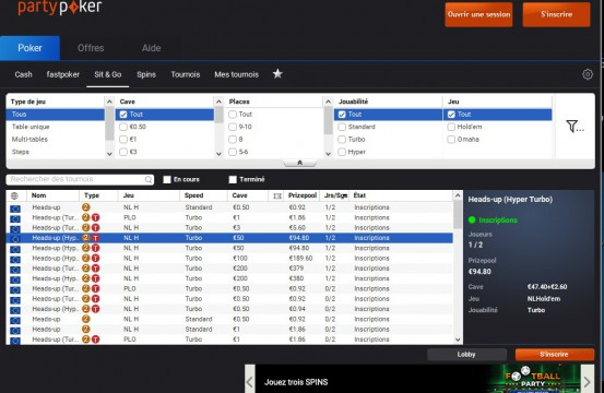 PartyPoker.fr sng lobby view 2021
