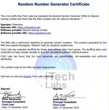 Random Nuber Generator Certificate Pokerbros