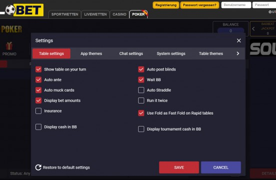 2021 Poker Room Solobet lobby settings view