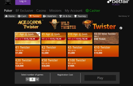 Betfair Poker Room 2021 spins lobby view